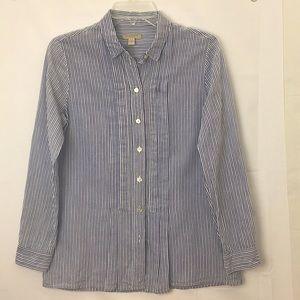 Burberry Brit Women's Striped Collared Blue Shirt